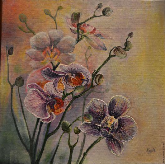 Картины цветов ручной работы. Ярмарка Мастеров - ручная работа. Купить Таинственная орхидея. Handmade. Разноцветный, картины цветов, орхидеи