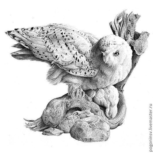 """Животные ручной работы. Ярмарка Мастеров - ручная работа. Купить картина """"Полярная сова"""". Handmade. Полярная сова, графика, тушь"""
