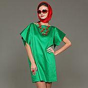 Одежда ручной работы. Ярмарка Мастеров - ручная работа Платье зеленое из хлопка- сатин прямого силуэта. Handmade.