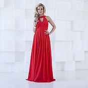 Одежда ручной работы. Ярмарка Мастеров - ручная работа Вечернее красное платье из шифона, платье нарядное в пол. Handmade.