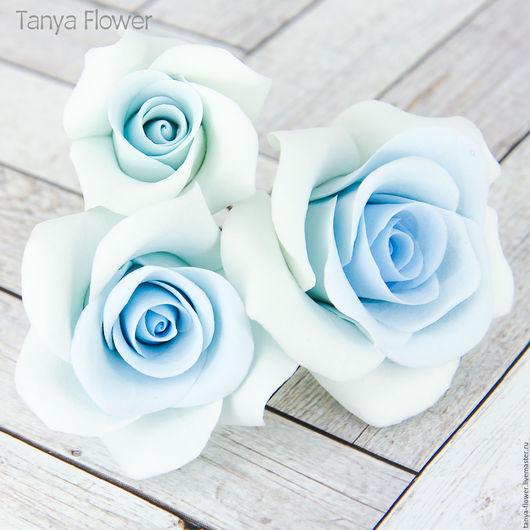 Свадебные украшения ручной работы. Ярмарка Мастеров - ручная работа. Купить Набор шпилек с голубыми розами (3 шт). Handmade.