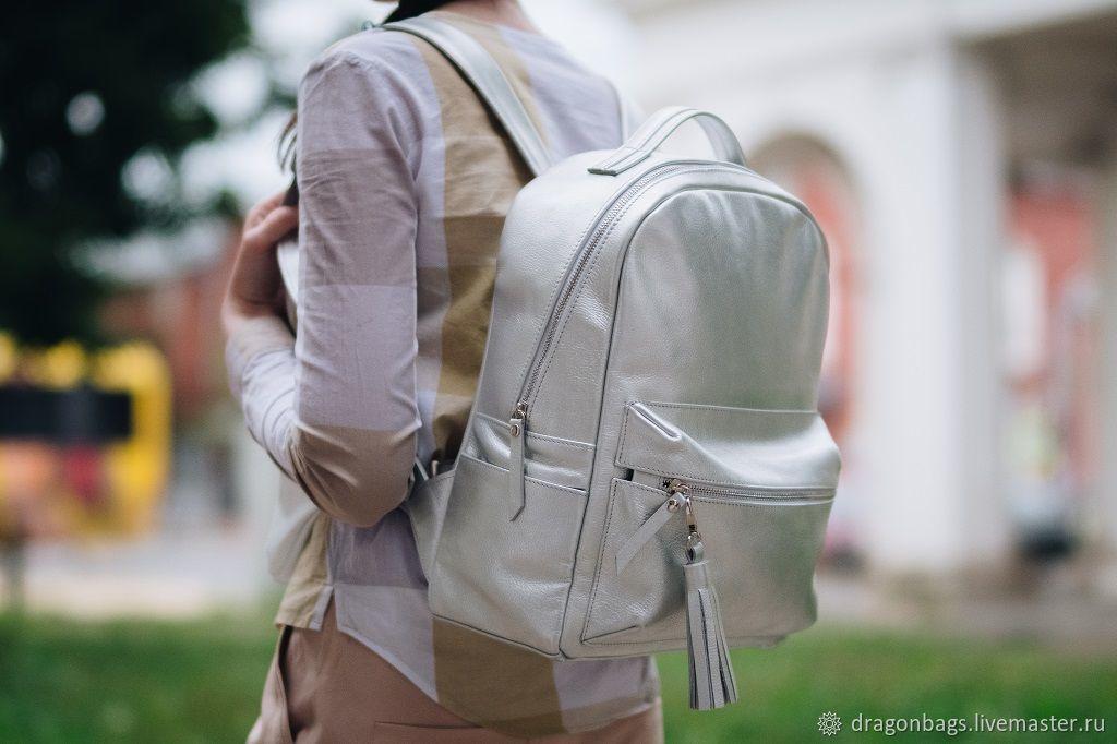 """Рюкзак кожаный женский """"Сruise"""" (Серебристый), Рюкзаки, Ярославль,  Фото №1"""