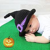 Работы для детей, handmade. Livemaster - original item Hat witch for newborn photo shoots on Halloween, black. Handmade.