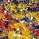Абстракция ручной работы. Ярмарка Мастеров - ручная работа. Купить Молодость. Handmade. Тёмно-синий, желтый, акриловые краски, абстрактный