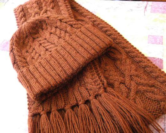 Комплекты аксессуаров ручной работы. Ярмарка Мастеров - ручная работа. Купить Коричневый комплект - шапка с отворотом  и шарф (терракотовый)). Handmade.