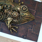 """Дизайн и реклама ручной работы. Ярмарка Мастеров - ручная работа Стимпанк панно """"Жаба"""". Handmade."""