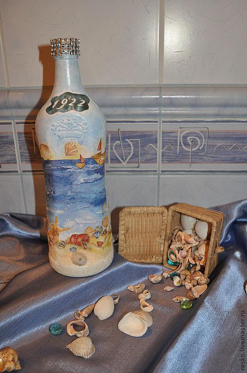 Подарочное оформление бутылок ручной работы. Ярмарка Мастеров - ручная работа. Купить Маяк (без содержимого). Handmade. Море, бутылка
