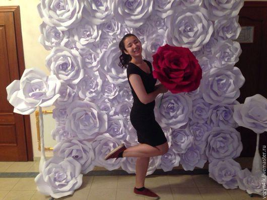 Свадебные цветы ручной работы. Ярмарка Мастеров - ручная работа. Купить Пресс-волл с бумажными розами (аренда). Handmade. Белый