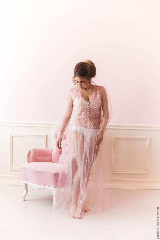 Платья ручной работы. Ярмарка Мастеров - ручная работа. Купить Будуарное платье pink dreams. Handmade. Бледно-розовый