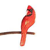 Украшения ручной работы. Ярмарка Мастеров - ручная работа Брошь Красный кардинал (брошка птица). Handmade.