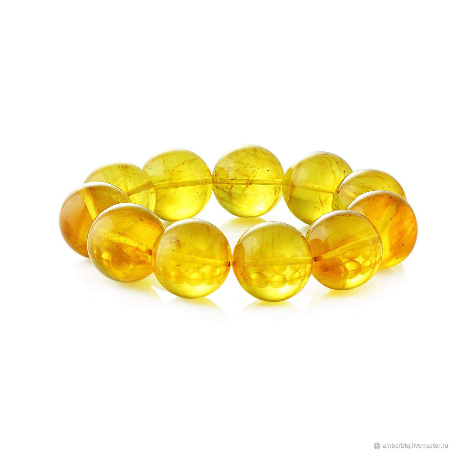 Amber bracelet 18 cm lemon (19 mm) with elastic band, Bead bracelet, Kaliningrad,  Фото №1