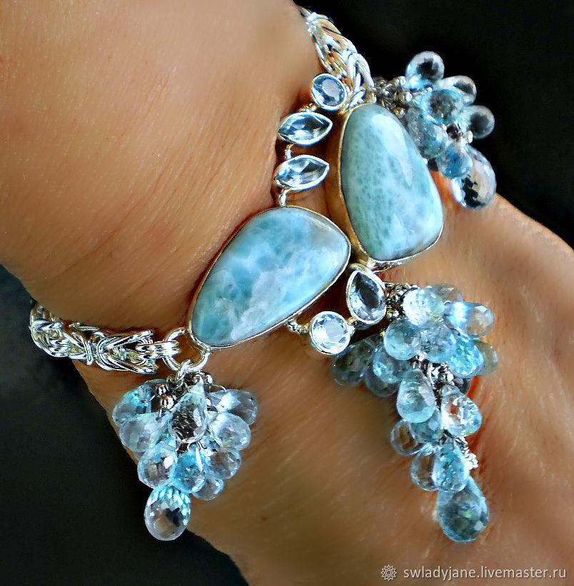 Серебряный браслет Lovely  Larimar ларимар голубые топазы с подвесками