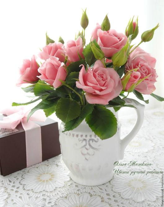 Интерьерные композиции ручной работы. Ярмарка Мастеров - ручная работа. Купить Кустовые розы из полимерной глины. Handmade. Бледно-розовый