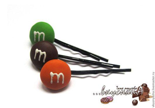 """Заколки ручной работы. Ярмарка Мастеров - ручная работа. Купить Заколки невидимки """"m&m's"""" из полимерной глины. Handmade. Заколки, эмэмдемс"""