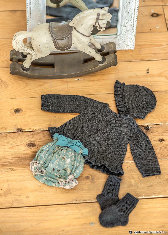 Ретро-комплект для новорожденного с блумерами, серый, Комплекты одежды для малышей, Петрозаводск,  Фото №1