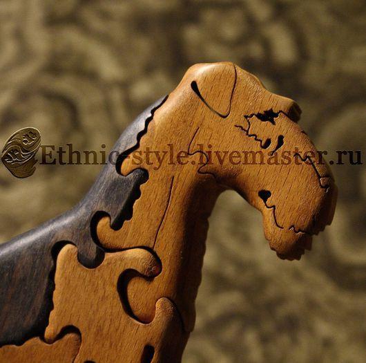 Игрушки животные, ручной работы. Ярмарка Мастеров - ручная работа. Купить Эрдельтерьер, Ирландский терьер (фигурка-пазл). Handmade. Коричневый