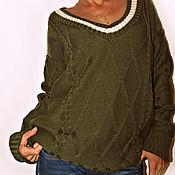 """Одежда ручной работы. Ярмарка Мастеров - ручная работа Вязаный пуловер оверсайз  """"Милитари"""". Handmade."""
