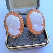Винтаж handmade. Livemaster - original item Earrings vintage: Clip-on earrings with cameos. Handmade.