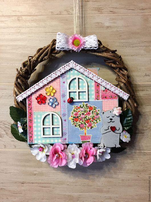 Персональные подарки ручной работы. Ярмарка Мастеров - ручная работа. Купить Венок интерьерный Sweet Home. Handmade. Комбинированный