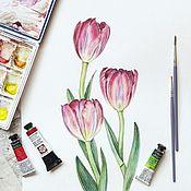 Картины и панно ручной работы. Ярмарка Мастеров - ручная работа Розовые тюльпаны. Handmade.