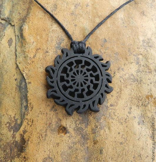 Кулоны, подвески ручной работы. Ярмарка Мастеров - ручная работа. Купить Чёрное солнце Амулет-предсказатель Резьба по камню Кулон из шунгита. Handmade.