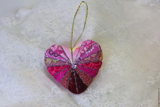 Новый год 2017 ручной работы. Ярмарка Мастеров - ручная работа. Купить Украшение сердце №1237 Кокетка. Handmade. Розовый