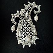 """Украшения ручной работы. Ярмарка Мастеров - ручная работа Брошь Пейсли """"Принцесса"""", вышивка серебром. Handmade."""