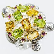 Кольца ручной работы. Ярмарка Мастеров - ручная работа Кольцо из серебра 925 с натуральными цитринами и перидотами. Handmade.