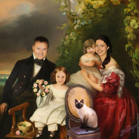 Фото-работы ручной работы. Ярмарка Мастеров - ручная работа. Купить Семейный Портрет по фото. Handmade. Коллаж, портрет, фотоколлаж