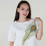 Одежда handmade. Livemaster - original item Lightweight snow-white felt sweater with peacock Feather decor. Handmade.