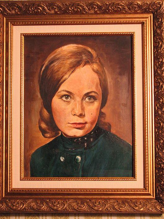 портрет для примера картина выполнена масляными красками на холсте в старинном стиле. ручная работа - холст, масло.  фото с фотоаппарата без вспышки