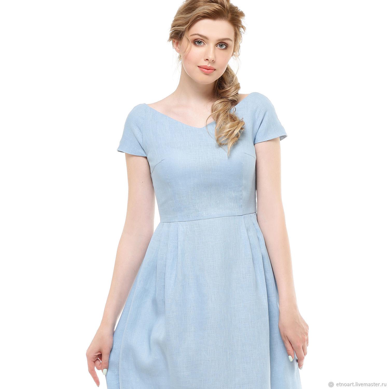 Pale blue boho dress made of 100% linen, Dresses, Tomsk,  Фото №1