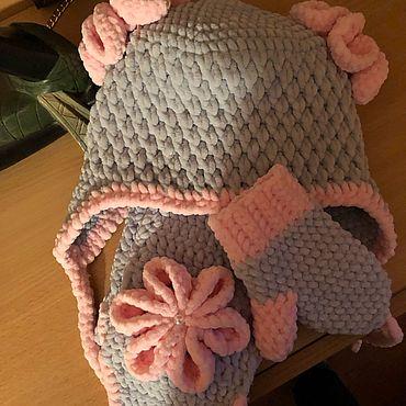 Одежда ручной работы. Ярмарка Мастеров - ручная работа Шапка, шарф и рукавички из плюшевой пряжи. Handmade.
