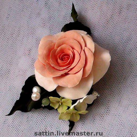 """Броши ручной работы. Ярмарка Мастеров - ручная работа. Купить Брошь """"Чайная роза"""". Handmade. Брошь цветок, кварц"""