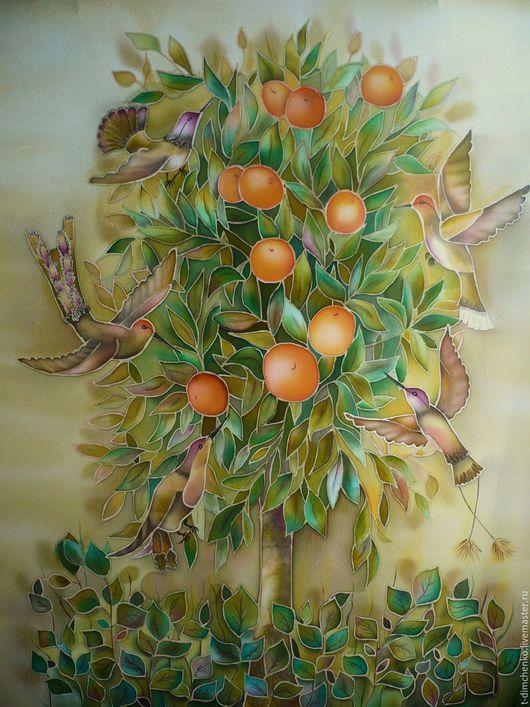 """Пейзаж ручной работы. Ярмарка Мастеров - ручная работа. Купить Картина """" Апельсиновое дерево с райскими птичками"""". Handmade. Картина"""