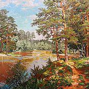 Картины и панно ручной работы. Ярмарка Мастеров - ручная работа Вышитая гладью картина Лесное озеро. Handmade.