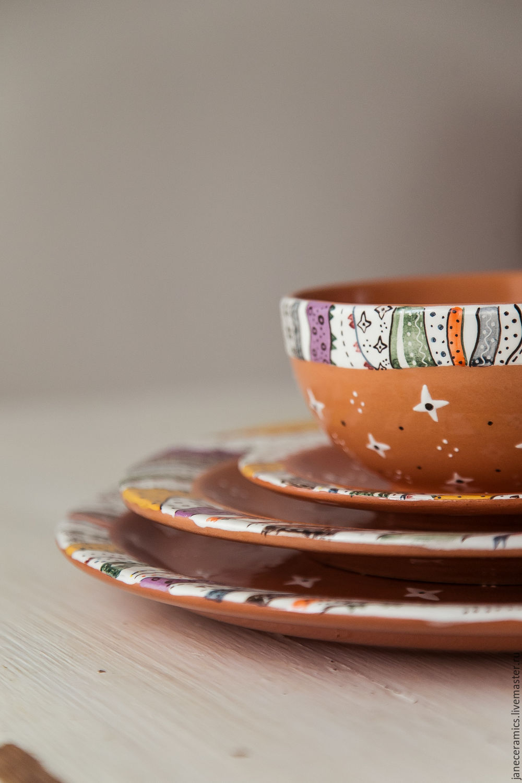 'Motives Bakst.Peri' Set of three flat plates and bowls, ceramics, Plates, Zhukovsky,  Фото №1