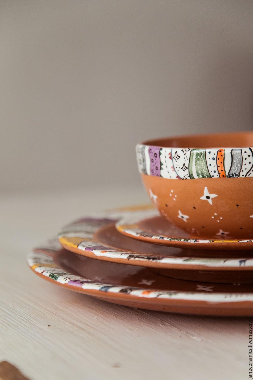 """Мотивы Бакста.Пери"" Набор из трёх плоских тарелок и пиалы, керамика, Тарелки, Жуковский, Фото №1"