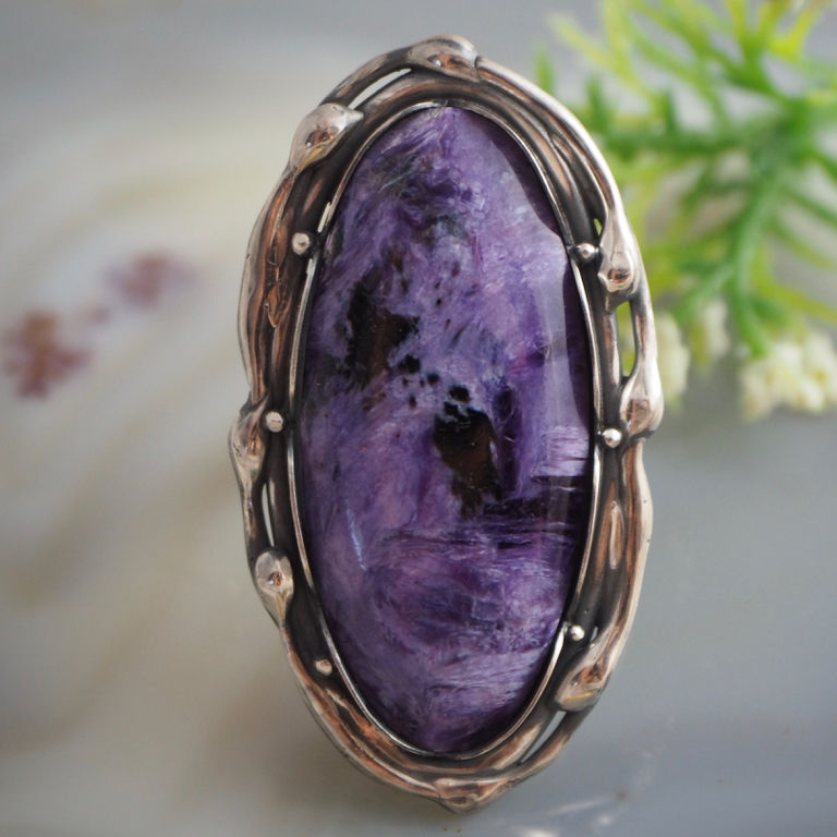 Ring 'lilac' - charoite, 925 sterling silver, Rings, Prague,  Фото №1
