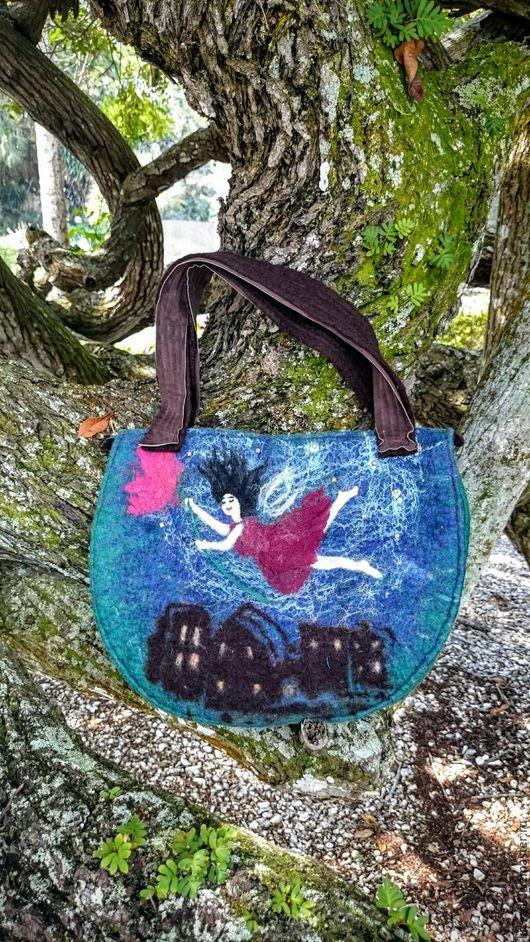 Женские сумки ручной работы. Ярмарка Мастеров - ручная работа. Купить ЗА МЕЧТОЙ   войлочная сумочка. Handmade. Тёмно-зелёный