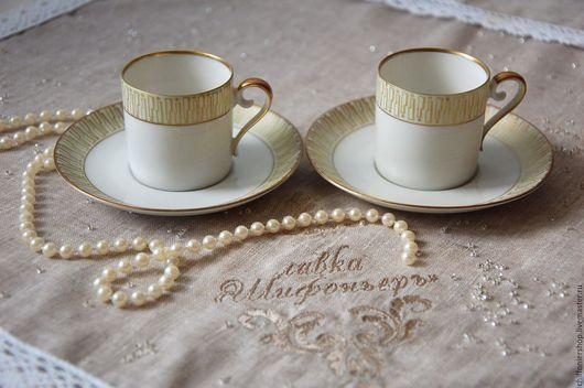 Винтажная посуда. Ярмарка Мастеров - ручная работа. Купить Винтажная коллекционная кофейная пара. Handmade. Бежевый, антиквариат, фарфор