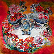 """Аксессуары ручной работы. Ярмарка Мастеров - ручная работа Шелковый платок """"Африканский буйвол"""". Handmade."""