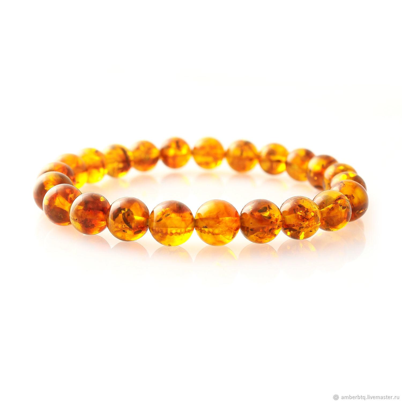 Amber bracelet 16 cm from cognac balls with a husk (7,5 mm) on an elastic band, Bead bracelet, Kaliningrad,  Фото №1