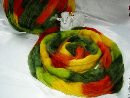 Топс меринос 21 мкм `Осенний вальс`  10гр - 35 руб. Шерсть топс меринос 21 микрон, окрашенная в технике ОМБРЕ. Цвета в ленте -  темно-зеленый, салатовый, желтый, терракот.  Производство Германия.