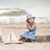 Работы для детей, ручной работы. Ярмарка Мастеров - ручная работа Джинсовое платье и панама для девочки, детский сарафан.. Handmade.