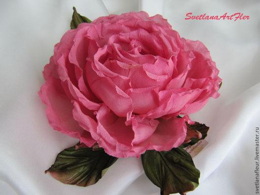 Цветы ручной работы. Ярмарка Мастеров - ручная работа. Купить Роза розовая. Handmade. Розовый, цветы ручной работы, брошь