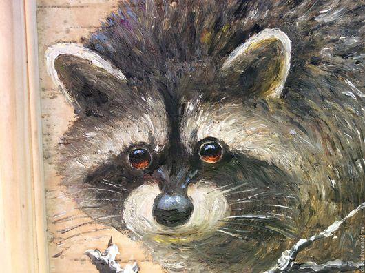 Животные ручной работы. Ярмарка Мастеров - ручная работа. Купить Картина на бересте Крошка-енот. Handmade. Серый, берестяные изделия