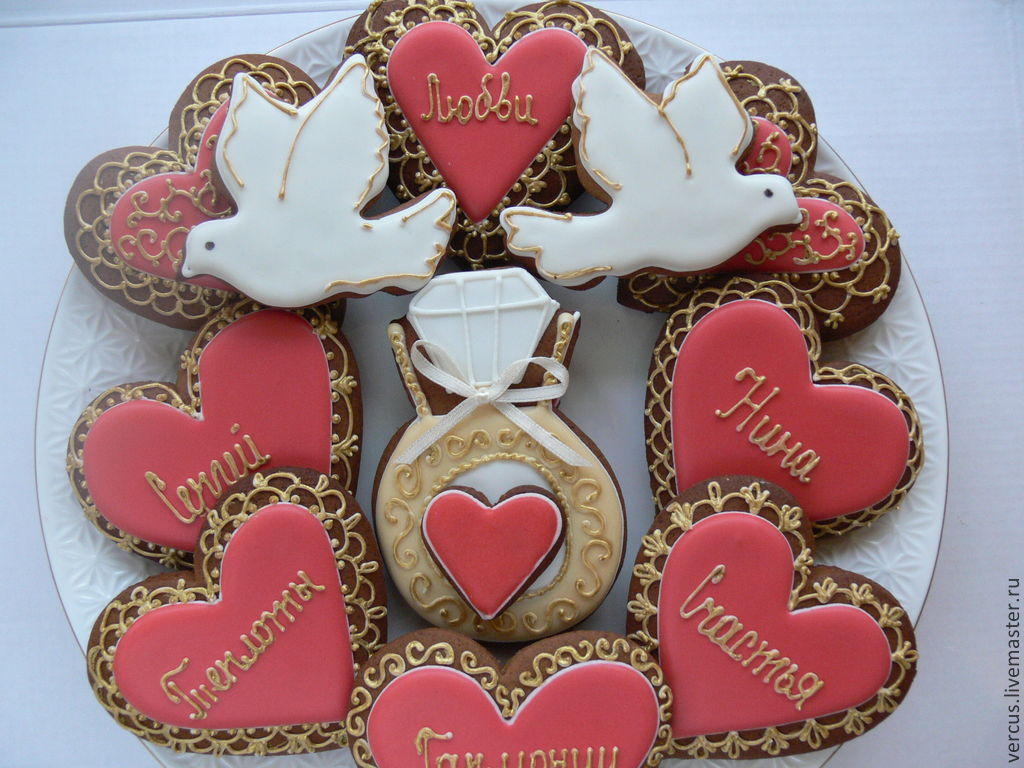 Пряники сердечки свадебные