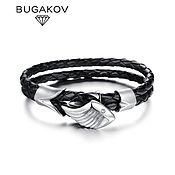 Украшения handmade. Livemaster - original item Leather bracelet with jewelry steel wing and zircon unisex. Handmade.
