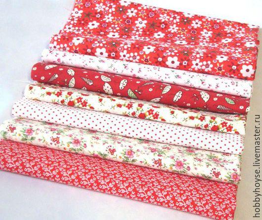 Шитье ручной работы. Ярмарка Мастеров - ручная работа. Купить набор ткани для пэчворка (50х50) красный № 1. Handmade.